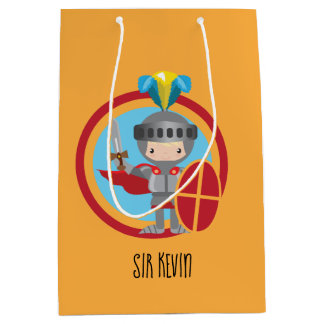Little Knight in Armor With Red Shield Medium Gift Bag