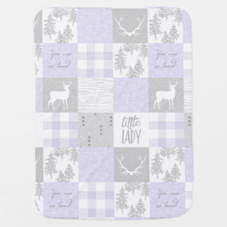 Little Lady Baby Blanket - Lavender And Grey