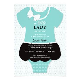 "Little Lady Baby Shower Invitation, Blue, Pearls 5"" X 7"" Invitation Card"