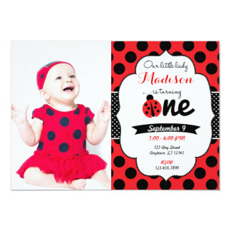 Little lady ladybug First Birthday Invitation