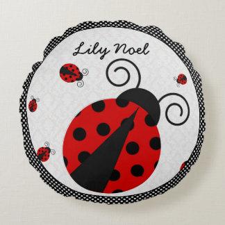 Little Lady Ladybug Round Pillow