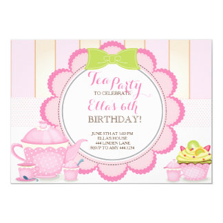 Little Lady Tea Party Birthday Party Invitations