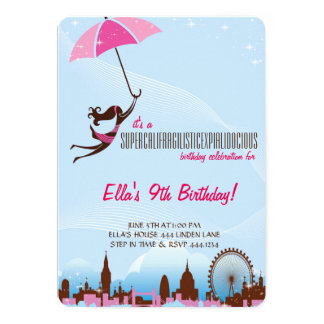 Little Lady Umbrella Birthday Party Invitations