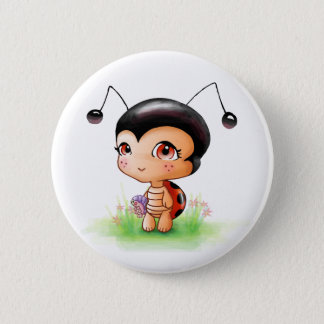 Little Ladybug Girl Button