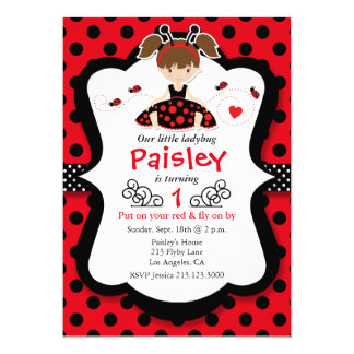 Little Ladybug Girl Red Birthday Party Invitation