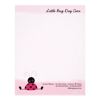 Little Ladybug Soft Pink Letterhead Template