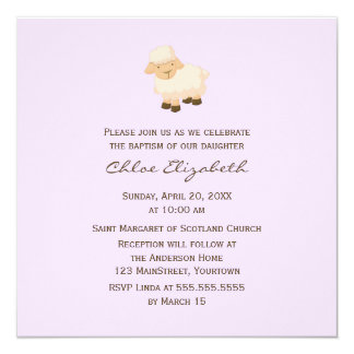 "Little Lamb Baptism 5.25"" Square Invitation Card"