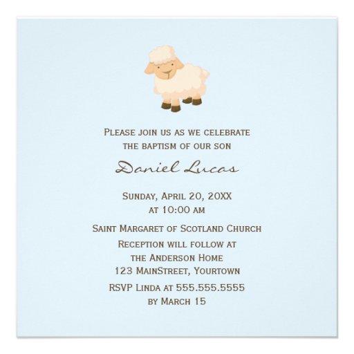 Little Lamb Baptism Personalized Invitation