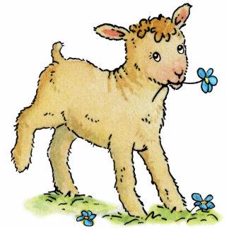 Little Lamb with Flower - Acrylic Cutout Magnet Photo Sculpture Magnet
