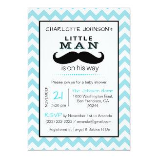 Little Lil' Man Mustache Boy Blue Baby Shower Card