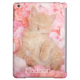 Little Linus Pink Floral sleeping kitten iPad Air Covers