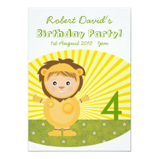 Little Lion Boy Birthday Party Card