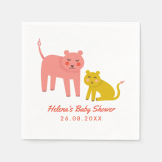 Little Lions Cute Baby Shower Paper Napkin
