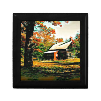 Little Log Cabin in the woods Art Gift Box