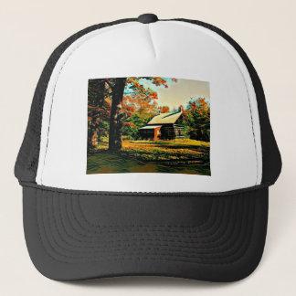 Little Log Cabin in the woods Art Trucker Hat