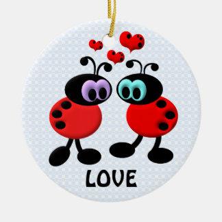 Little Love Bugs Round Ceramic Ornament
