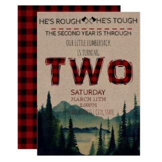Little Lumberjack Birthday Invite - Buffalo Plaid