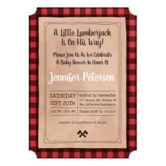 Little Lumberjack - Plaid Baby Shower Invitation
