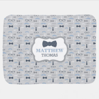 Little Man Baby Blanket, Navy Blue, Gray, Bow Tie Baby Blanket