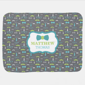 Little Man Baby Blanket, Teal, Lime, Gray, Bow Tie Baby Blanket