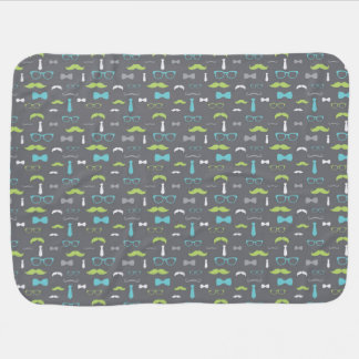 Little Man Baby Blanket, Teal, Lime, Gray, Bow Tie Receiving Blanket