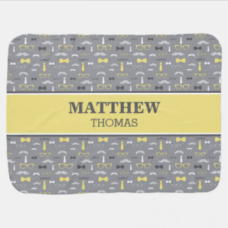 Little Man Baby Blanket, Yellow, Gray, Bow Tie Baby Blanket