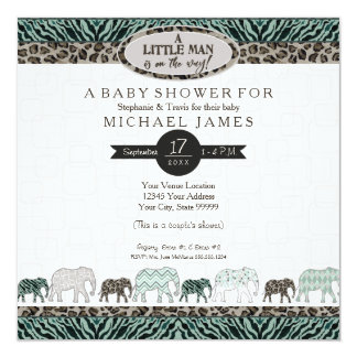 Little Man Baby Boy Safari Elephants Zebra Shower Card