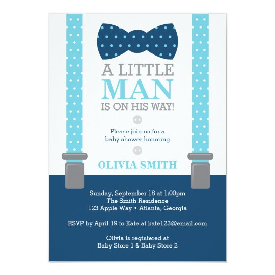 Little Man Baby Shower Invitation, Baby Blue, Navy Card
