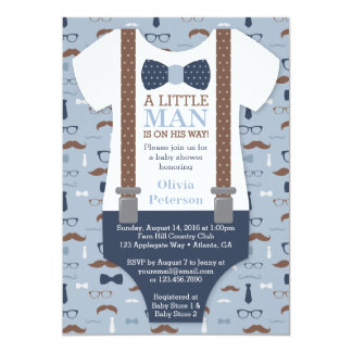 Little Man Baby Shower Invitation, Blue, Brown Card