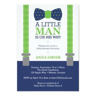 Little Man Baby Shower Invitation, Blue, Green Card