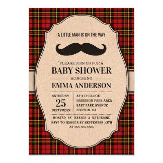 Little Man Baby Shower Invitation - Mustache Plaid