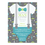 "Little Man Baby Shower Invitation, Teal, Green 5"" X 7"" Invitation Card"