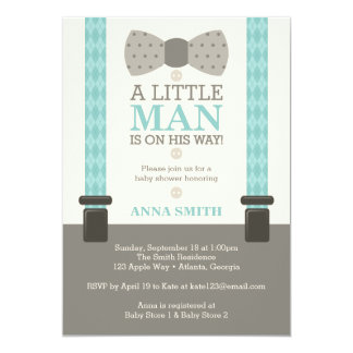 Little Man Baby Shower Invitation, Turquoise Card