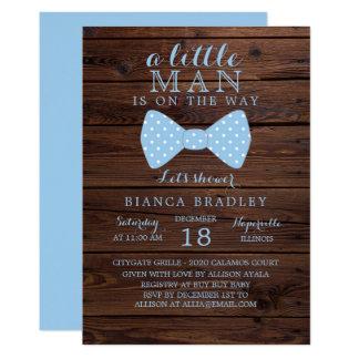 Little Man Baby Shower Invitation   Wood Bow Tie