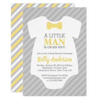 Little Man Baby Shower Invitation - Yellow Gray