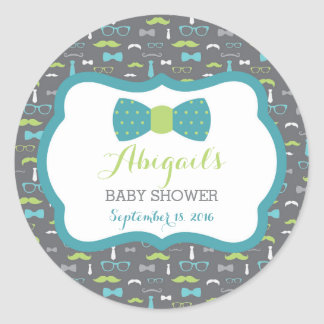 Little Man Baby Shower Sticker, Teal, Green, Gray Round Sticker