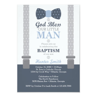Little Man Baptism Invitation, Navy Blue, Gray Card