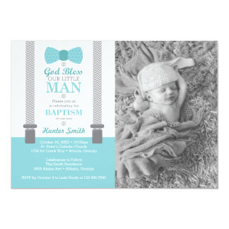 Little Man Baptism Photo Invitation, Aqua, Gray Card
