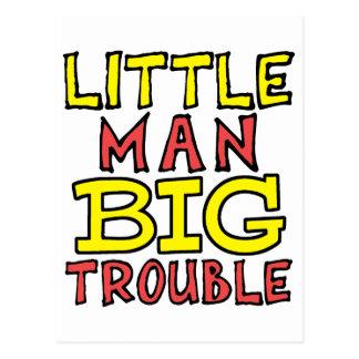 Little man big trouble kid design postcard