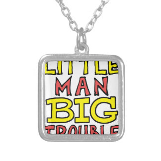 Little man big trouble kid design silver plated necklace