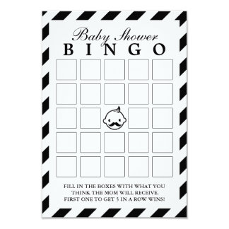 Little Man Black Stripes Baby Shower Bingo Cards