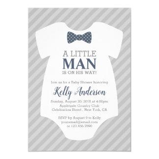 Little Man Boy Baby Shower Invitation - Blue Gray