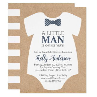 Little Man Boy Baby Shower Invitation - Kraft Card