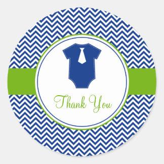 Little Man Chevron Blue Green Baby Shower Classic Round Sticker