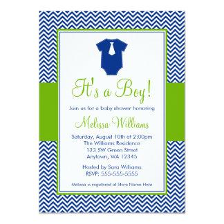 "Little Man Chevron Blue Green Baby Shower 4.5"" X 6.25"" Invitation Card"