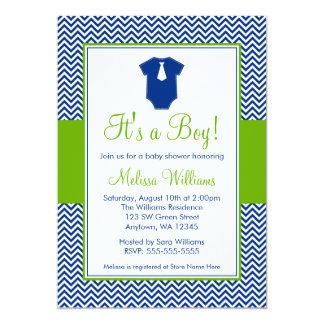 "Little Man Chevron Blue Green Baby Shower 5"" X 7"" Invitation Card"