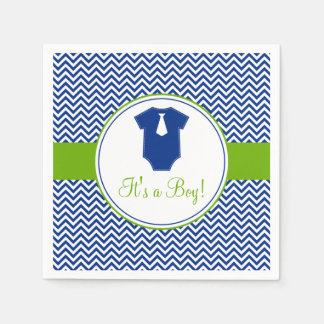 Little Man Chevron Blue Green Baby Shower Paper Napkins