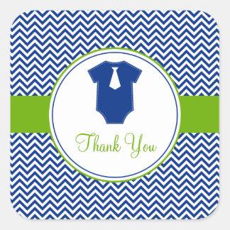 Little Man Chevron Blue Green Baby Shower Square Sticker