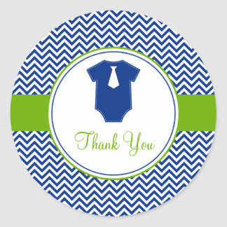 Little Man Chevron Blue Green Baby Shower Round Sticker
