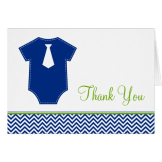 Little Man Chevron Blue Green Thank You Note Card